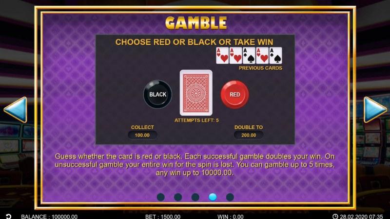 Golden Vegas :: Gamble Feature Rules