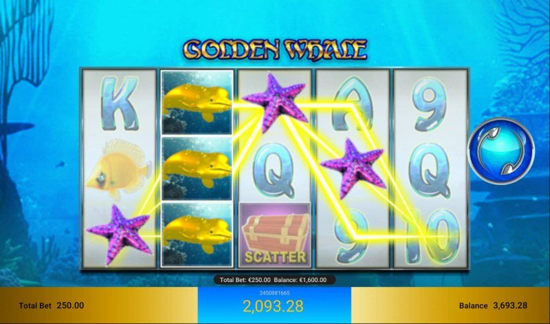 Golden Whale :: Stacked wild symbol triggers a three of a kind