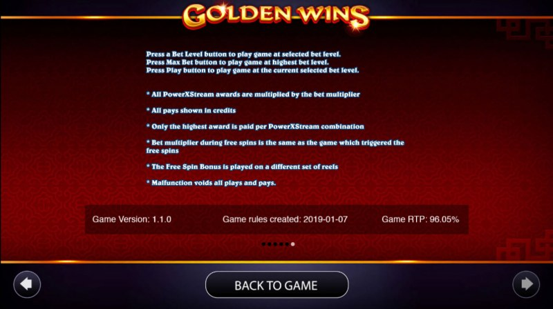 Golden Wins :: General Game Rules