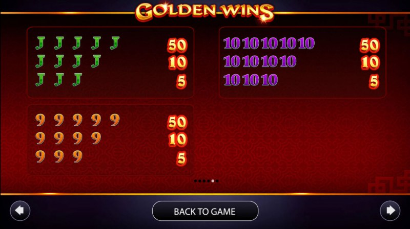 Golden Wins :: Paytable - Low Value Symbols