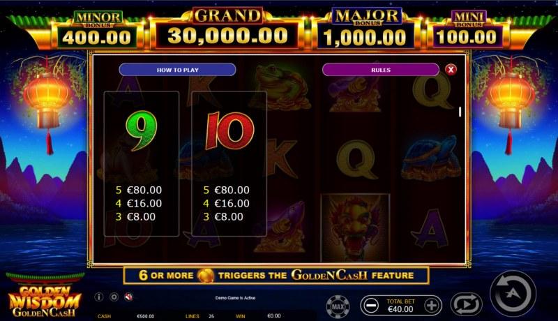 Golden Wisdom Golden Cash :: Paytable - Low Value Symbols
