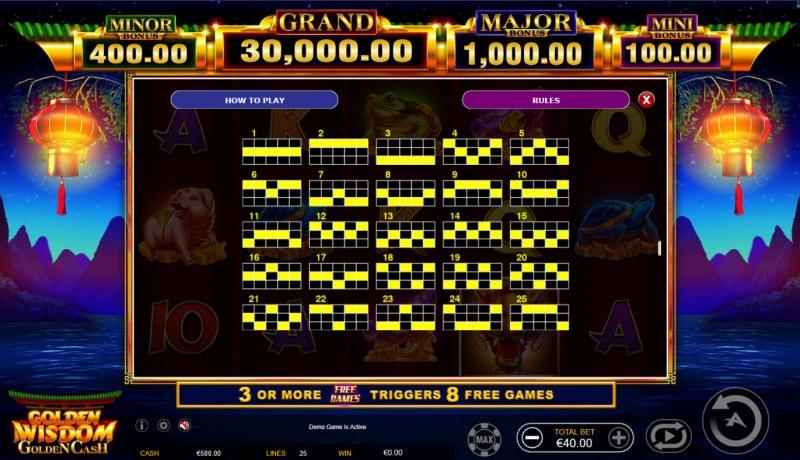 Golden Wisdom Golden Cash :: Paylines 1-25