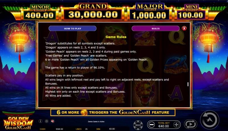 Golden Wisdom Golden Cash :: General Game Rules