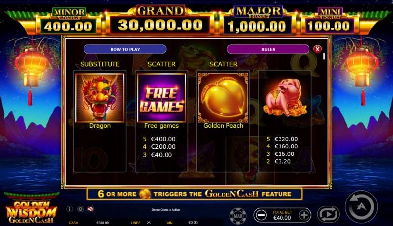 Golden Wisdom Golden Cash :: Wild and Scatter Rules