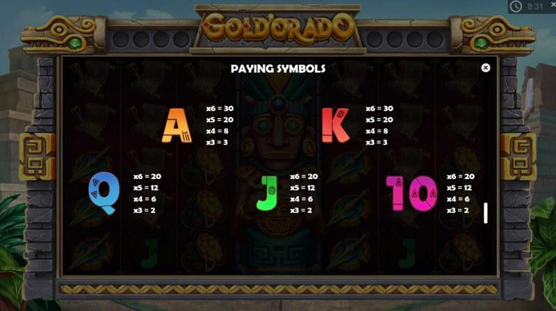 Gold'orado :: Paytable - Low Value Symbols