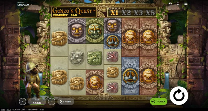 Gonzo's Quest Megaways :: Main Game Board