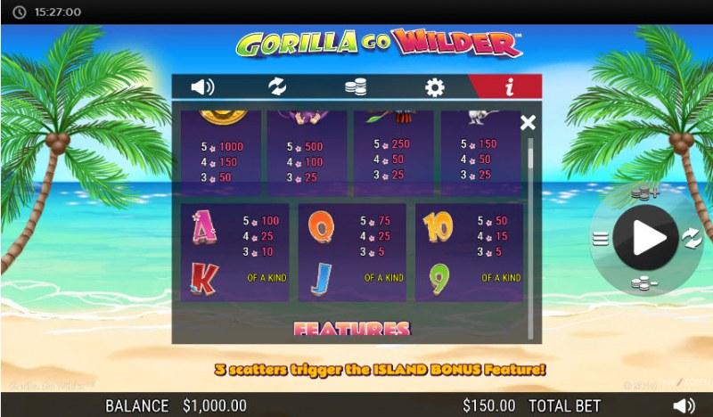 Gorilla Go Wilder :: Paytable - Low Value Symbols