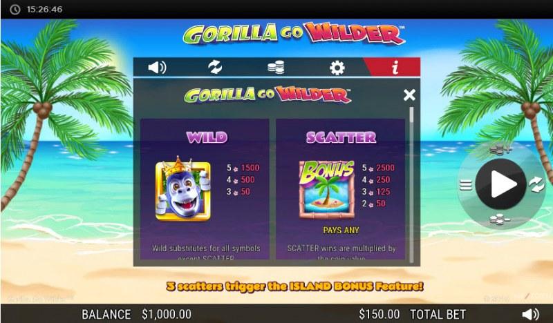 Gorilla Go Wilder :: Wild and Scatter Rules