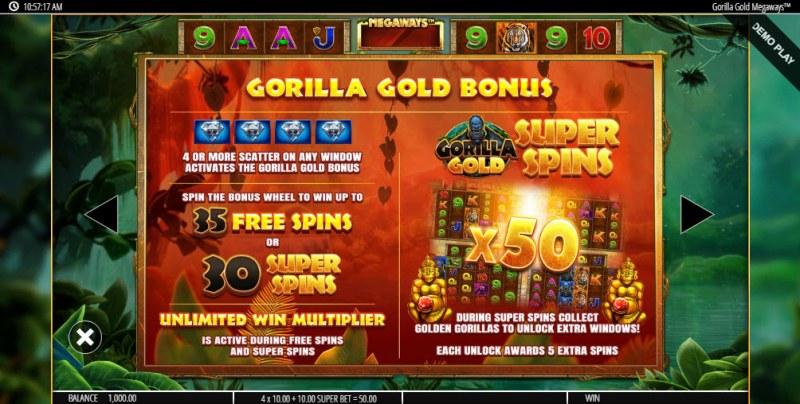 Gorilla Gold Megaways :: Bonus Game Rules