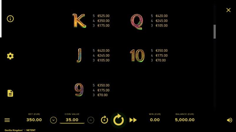 Gorilla Kingdom :: Paytable - Low Value Symbols