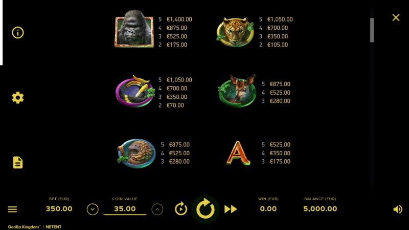Gorilla Kingdom :: Paytable - High Value Symbols