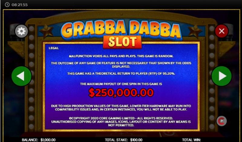 Grabba Dabba Slot :: Legal