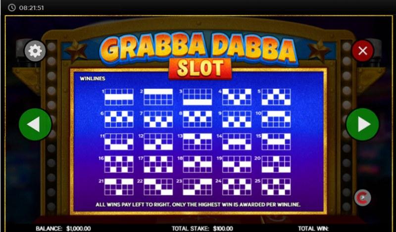 Grabba Dabba Slot :: Paylines 1-25