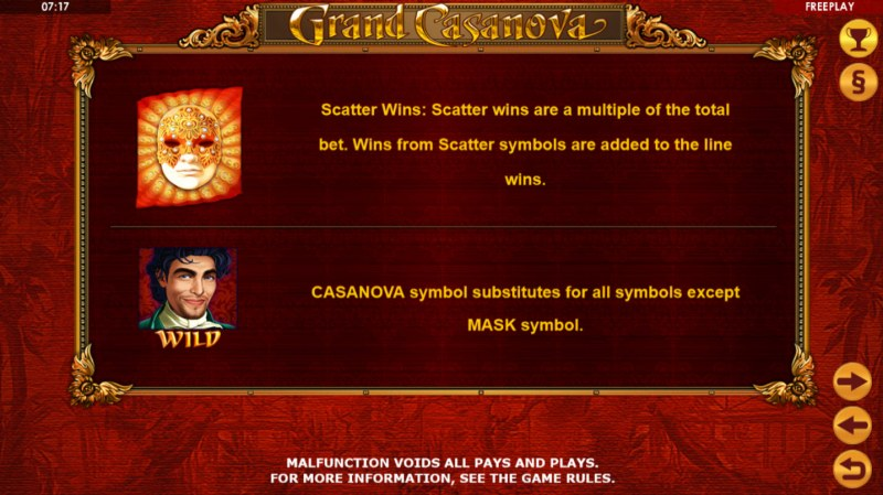 Grand Casanova :: Wild and Scatter Rules