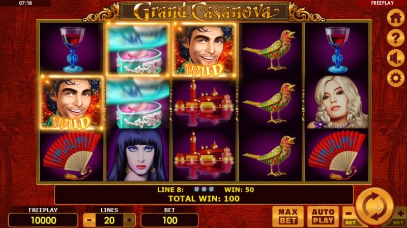 Grand Casanova :: Multiple winning paylines