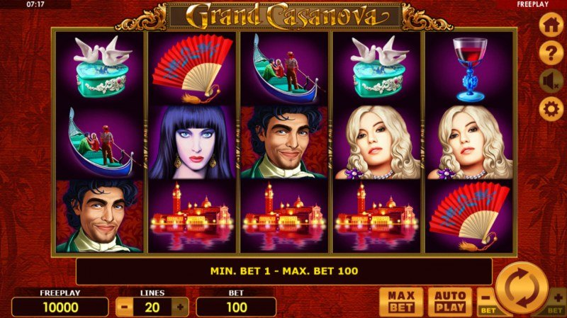Play slots at iLucki: iLucki featuring the Video Slots Grand Casanova with a maximum payout of $10,000
