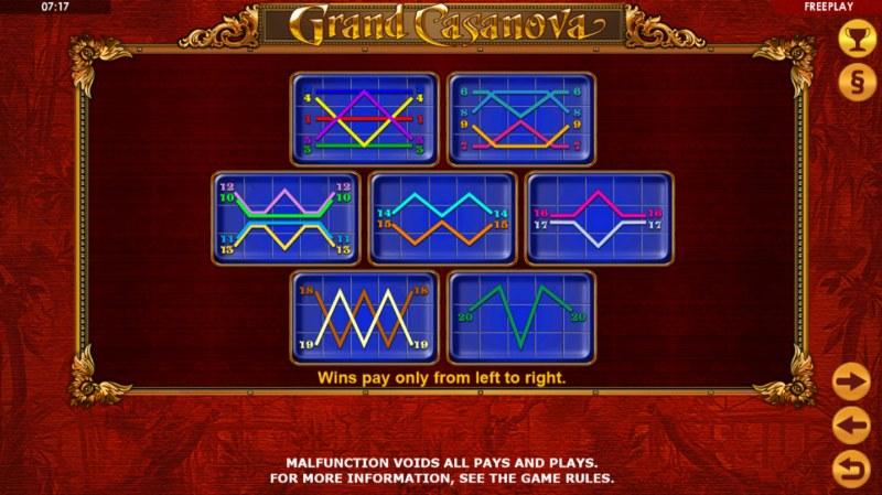 Grand Casanova :: Paylines 1-20