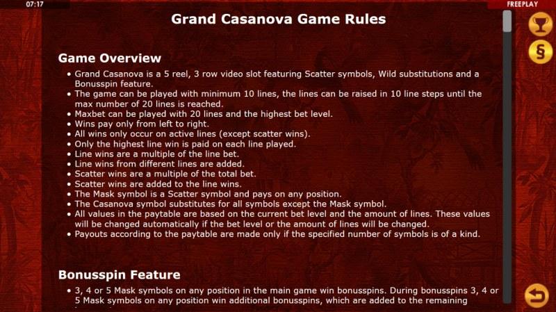 Grand Casanova :: General Game Rules