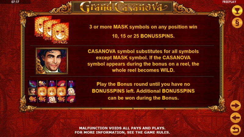 Grand Casanova :: Free Spins Rules