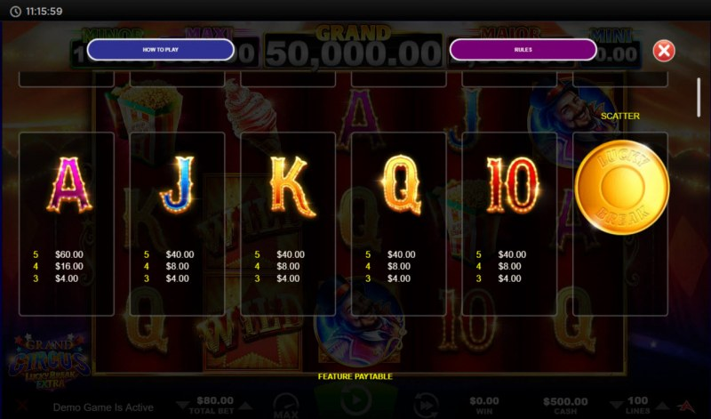 Grand Circus Lucky Break Extra :: Paytable - Low Value Symbols