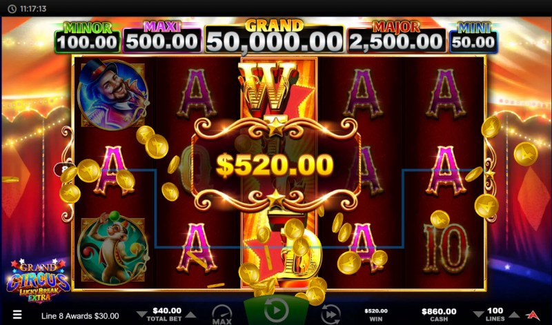 Grand Circus Lucky Break Extra :: Multiple winning paylines