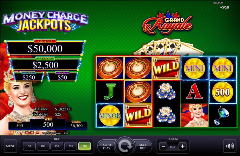 Grand Royale :: A three of a kind win