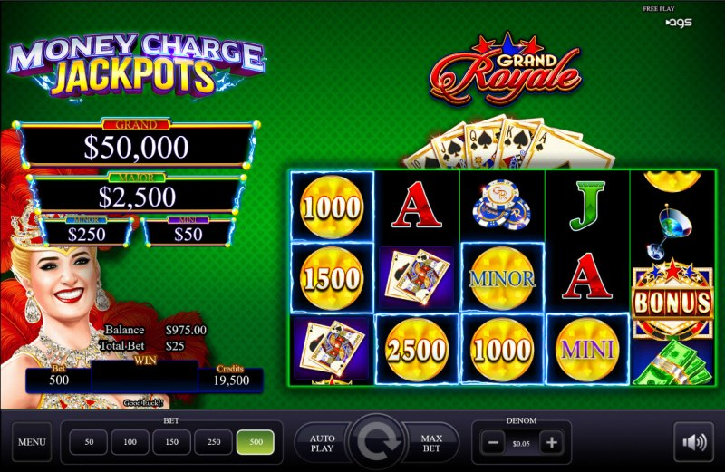 Grand Royale :: One or more bonus scatters triggers the Money Charge feature
