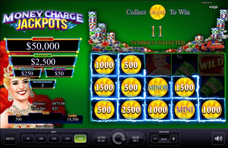 Grand Royale :: 3 respins awarded, land additional scatters for extended bonus play