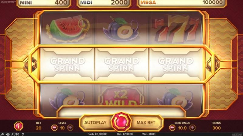 Grand Spinn :: Landing blank symbols on the payline awards no prize