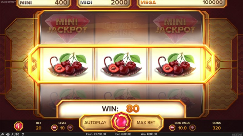 Grand Spinn :: Nudge feature leads to an additional winning payout
