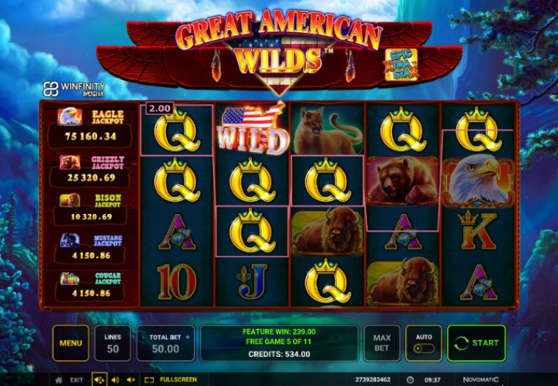 Great American Wilds :: A five of a kind win