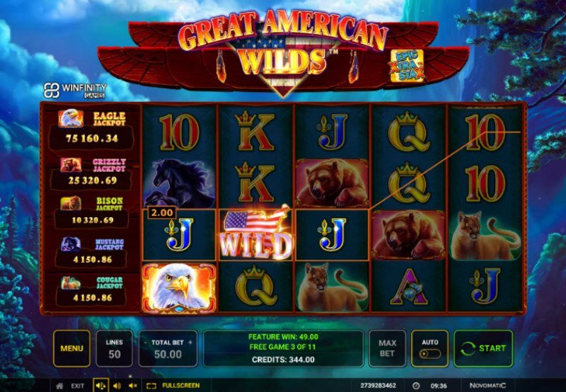 Great American Wilds :: Free Spins Game Board