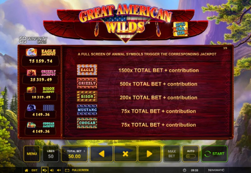 Great American Wilds :: Jackpot Rules