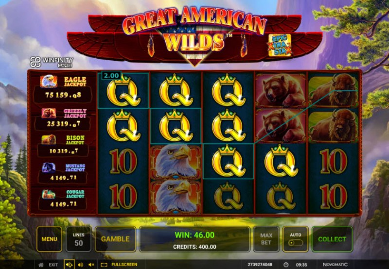 Great American Wilds :: Multiple winning paylines