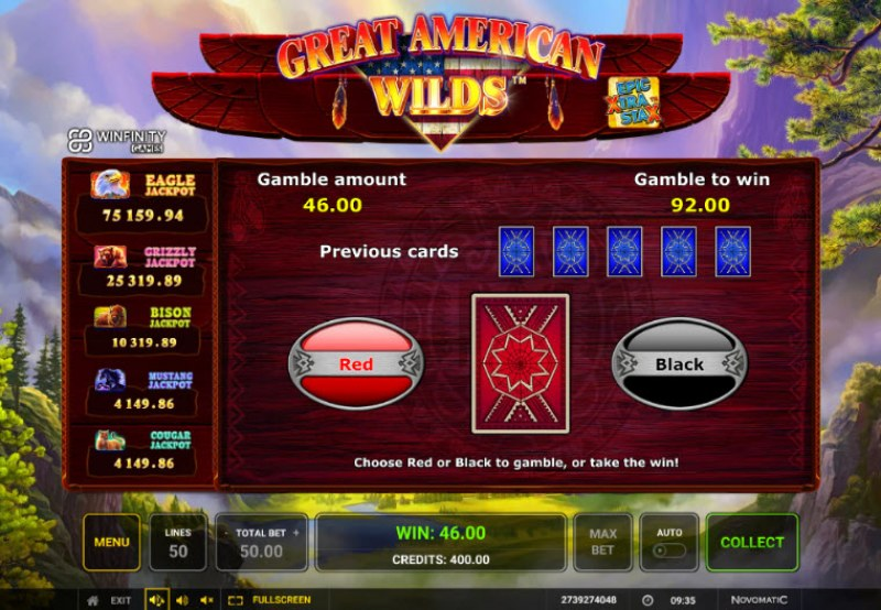 Great American Wilds :: Black or Red Gamble Feature