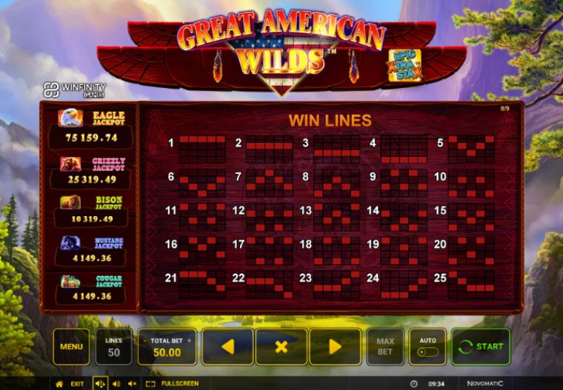 Great American Wilds :: Paylines 1-25