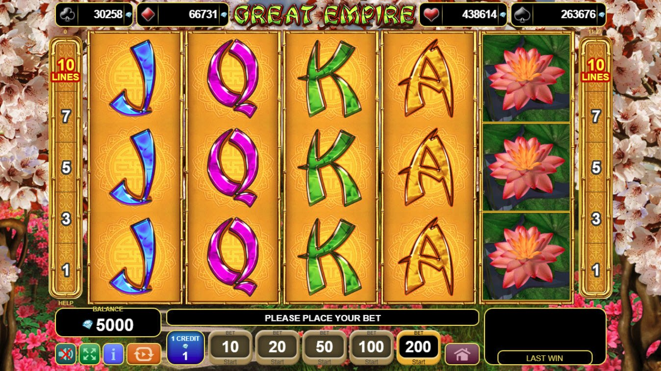 Play slots at Videoslots: Videoslots featuring the Video Slots Great Empire with a maximum payout of $20,000