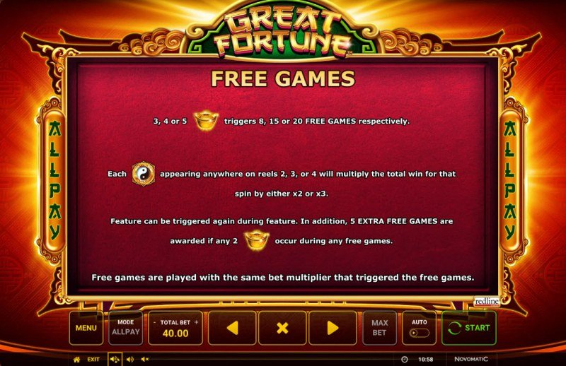 Great Fortune :: Free Spin Feature Rules