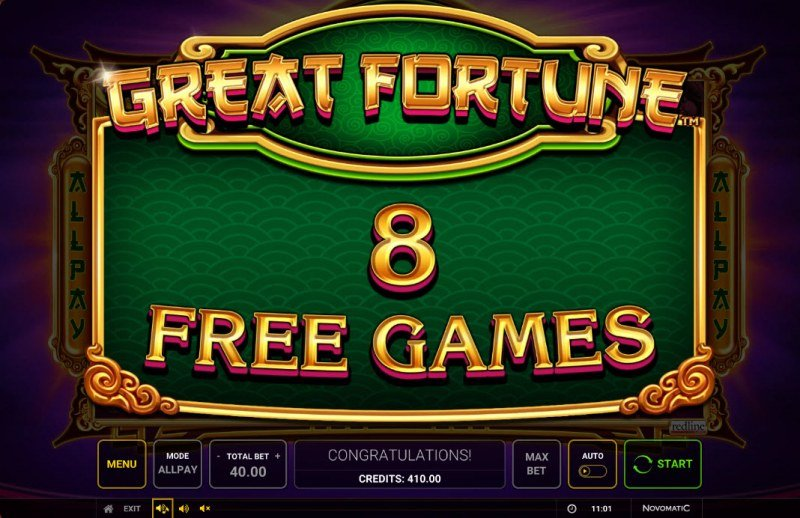 Great Fortune :: 8 free spins awarded