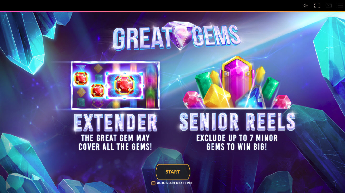 Play slots at LV Bet: LV Bet featuring the Video Slots Great Gems with a maximum payout of $100,000