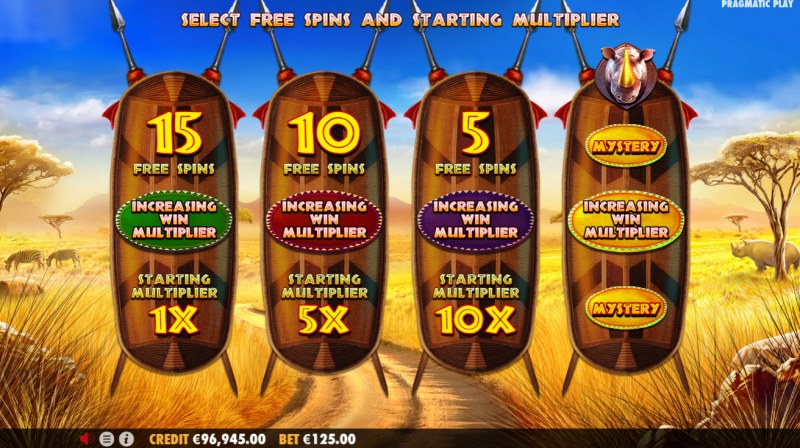 Great Rhino Megaways :: Pick Your Free Spins Feature To Play