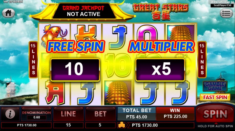 Great Stars :: 10 Free Spins Awarded
