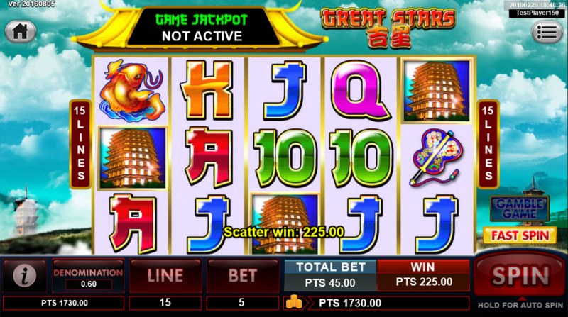 Great Stars :: Scatter symbols triggers the free spins feature