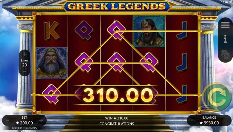Greek Legends :: Multiple winning paylines