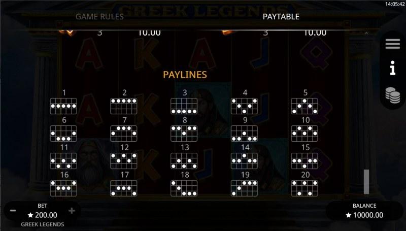 Greek Legends :: Paylines 1-20