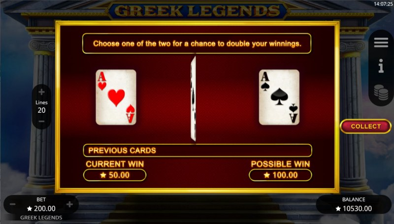 Greek Legends :: Red or Black Gamble Feature