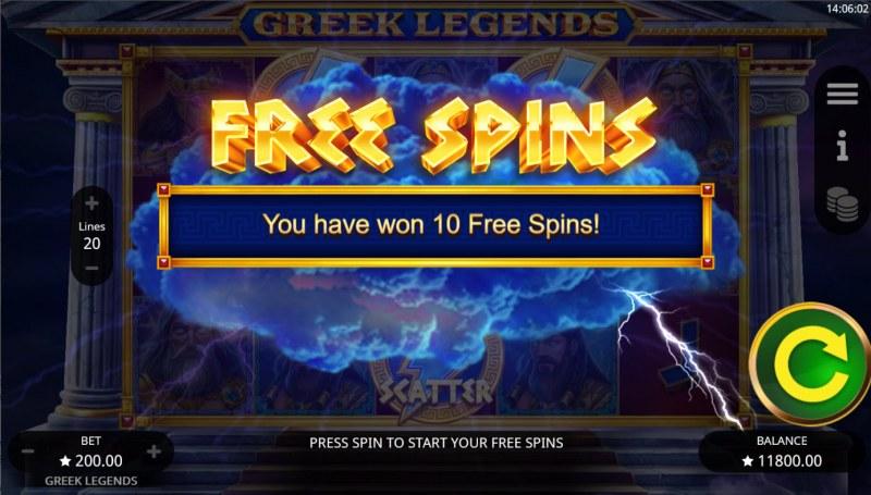 Greek Legends :: 10 free spins awarded