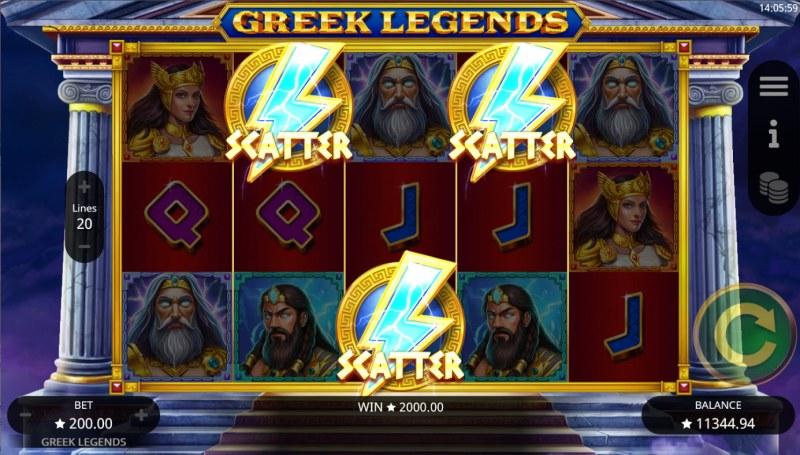 Greek Legends :: Scatter symbols triggers the free spins bonus feature
