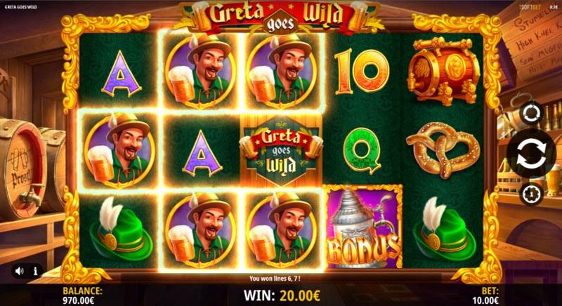 Greta Goes Wild :: A three of a kind win