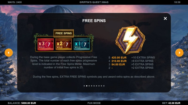 Griffin's Quest X-Mas Edition :: Free Spin Feature Rules